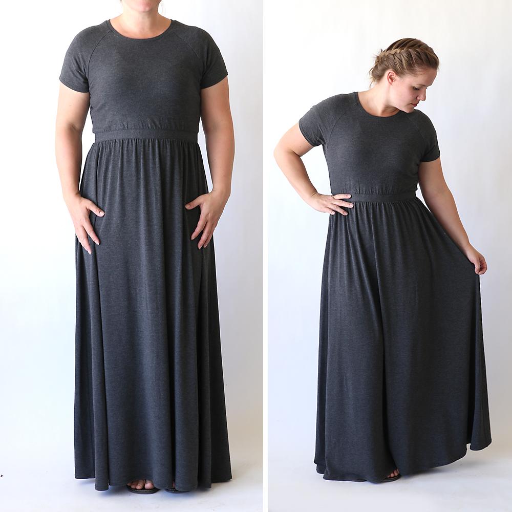 Long grey dress - maxi dress patterns + tutorials