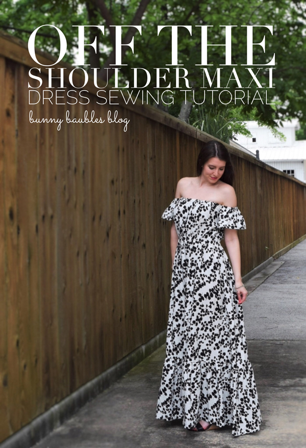 Off the shoulder maxi dress, black and white