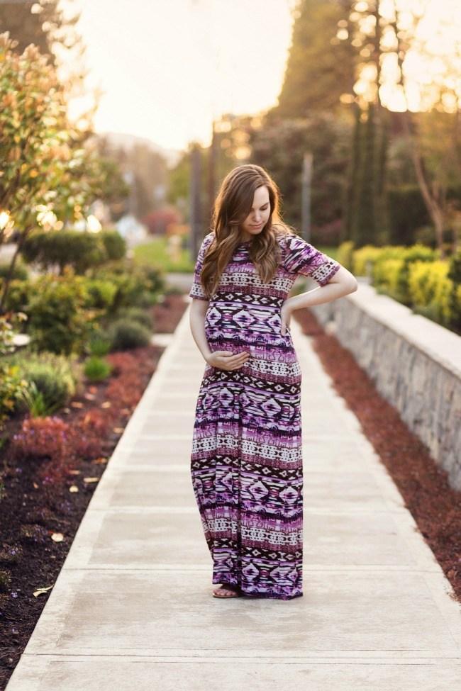Maternity friendly maxi dress