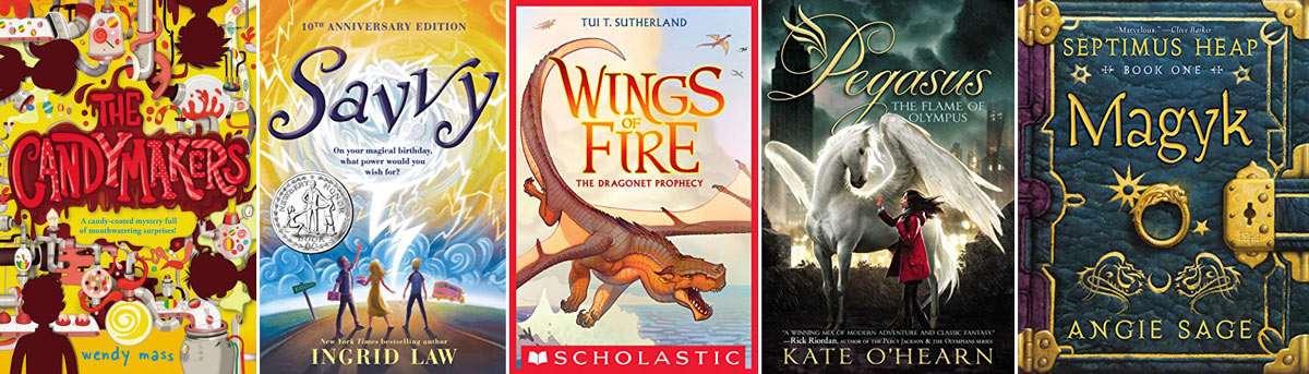 Book covers: The Candymakers, Savvy, Wings of Fire, Pegasus, Magyk