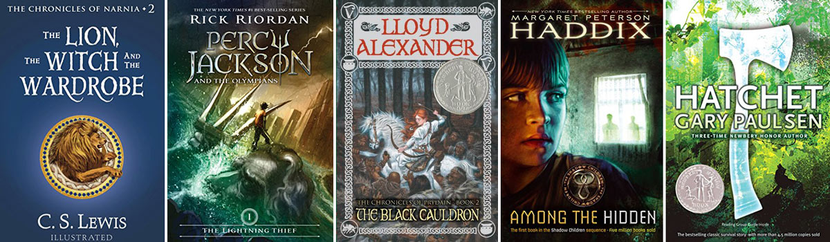 Book covers: The Lion, the Witch, and the Wardrobe, Percy Jackson, The Black Cauldron, Among the Hidden, Hatchet