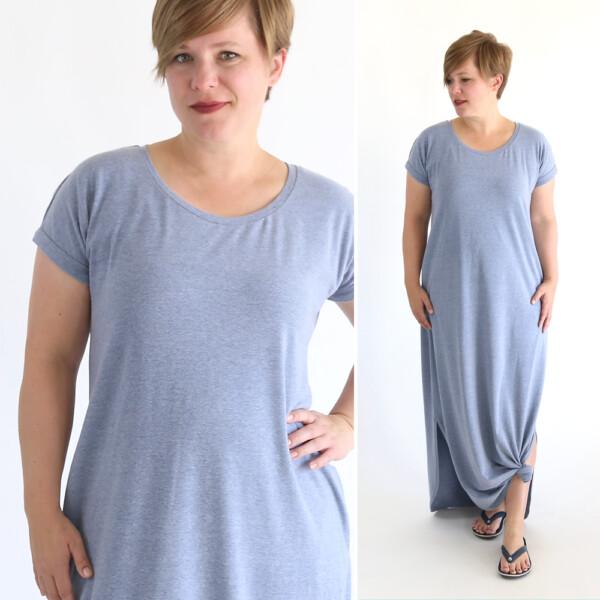 Woman wearing a maxi dress
