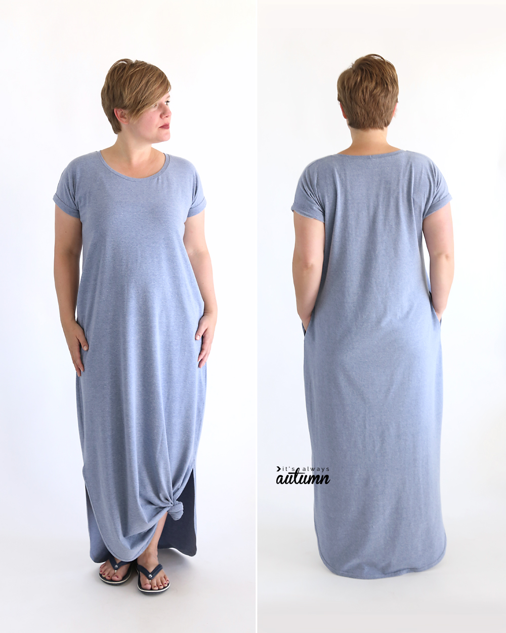 Easy relaxed maxi dress sewing pattern and tutorial.