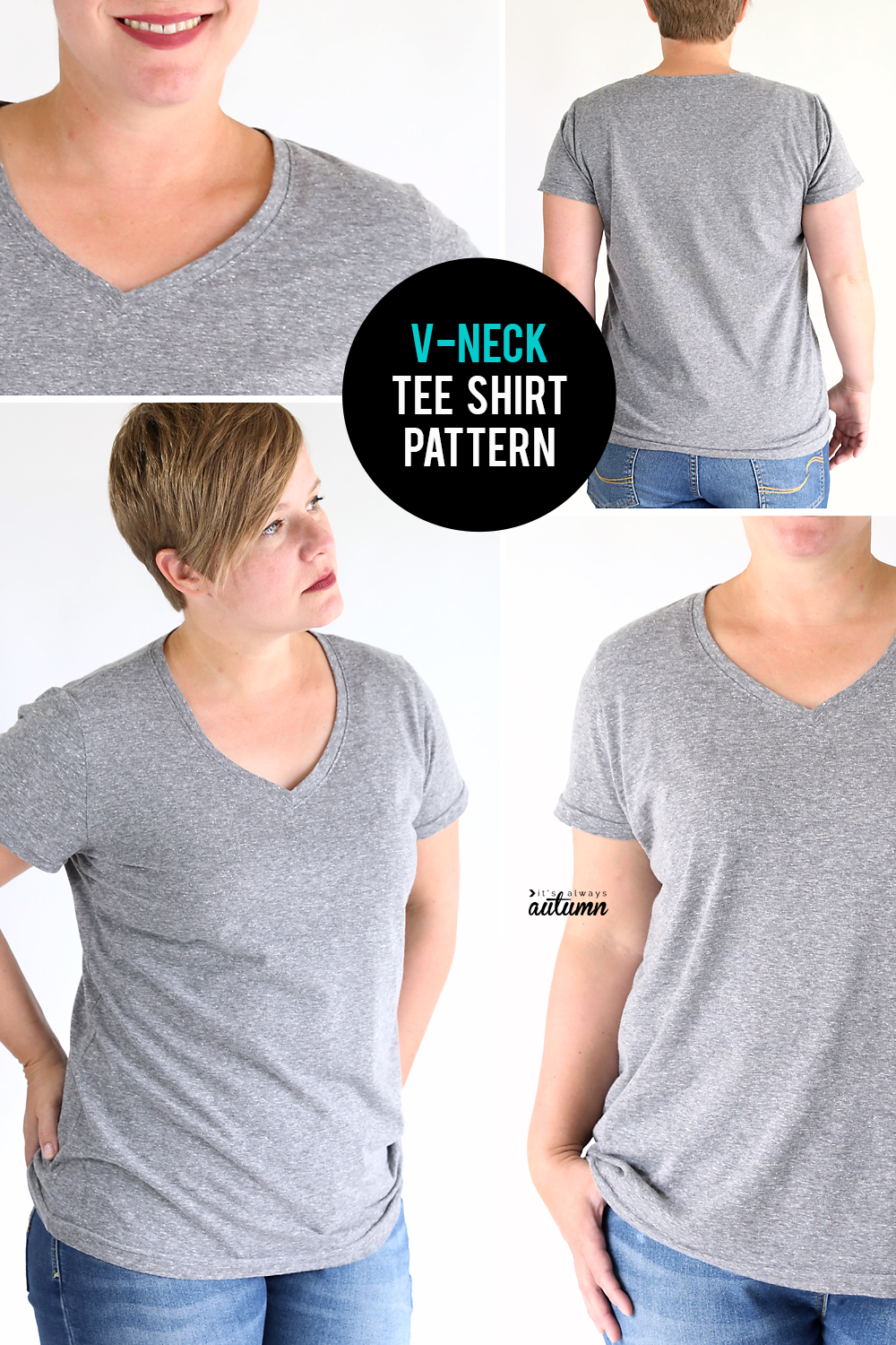 How to make a v-neck t-shirt! Free sewing pattern in women's size L.