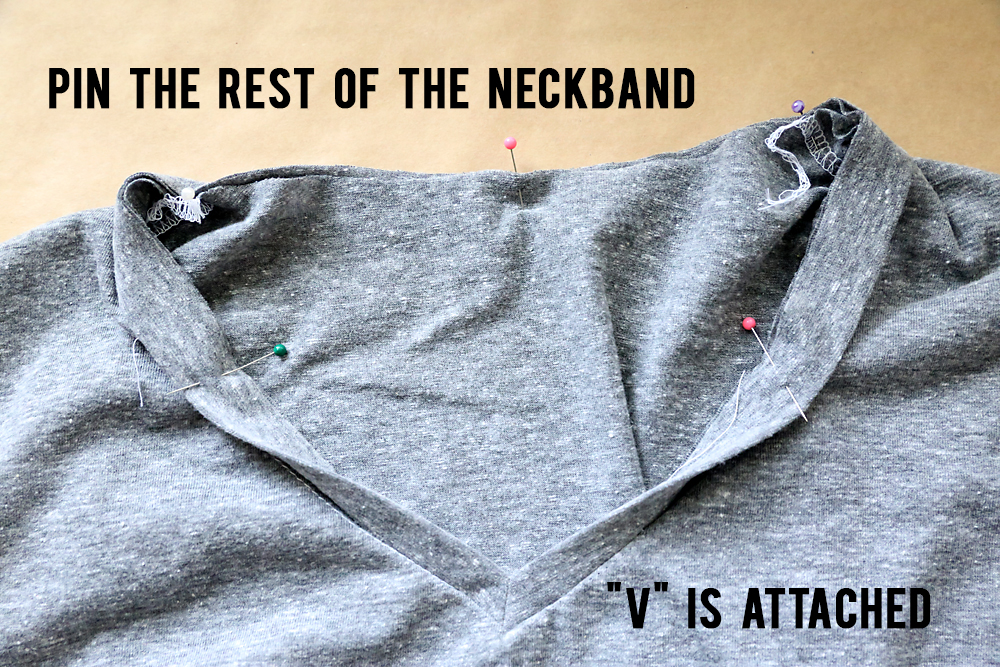 Pin and sew rest of neckband