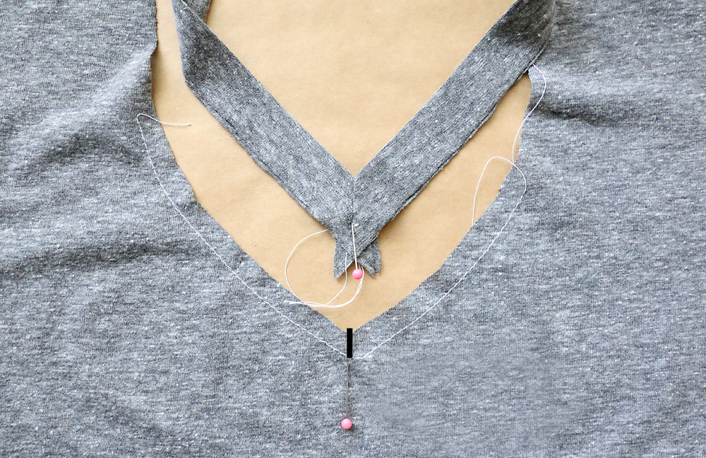 Neckbinding  and neckline with pins marking the center of the V in each