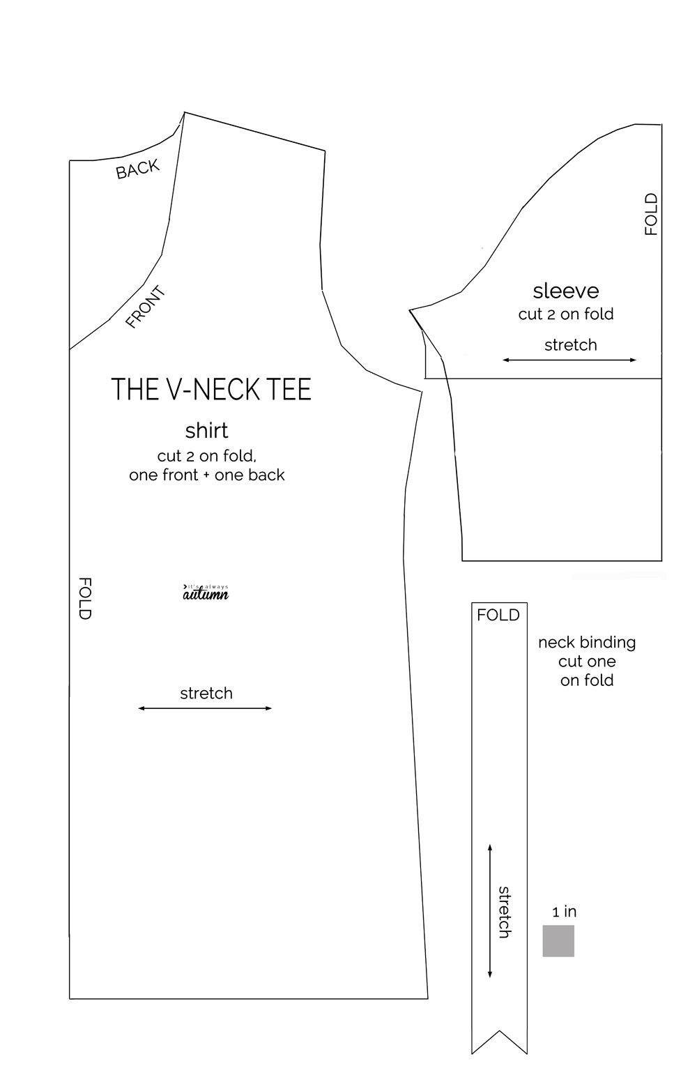 The V-neck tee sewing pattern diagram