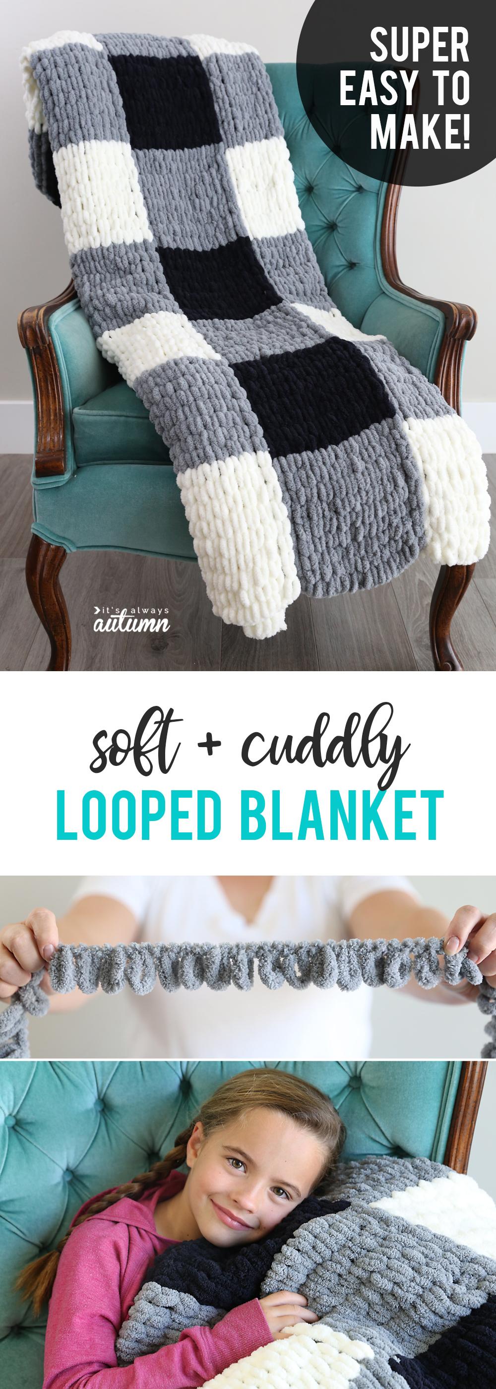 Soft and cuddly loop yarn blanket