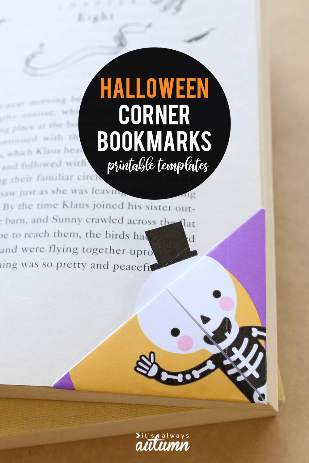 These Halloween bookmarks are a fun, easy, and cheap Halloween craft for kids. Just print the template, cut it out, and fold for a cute corner bookmark.