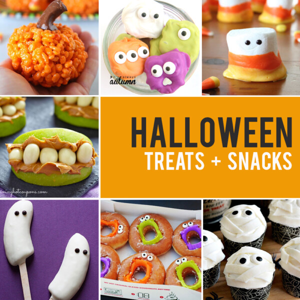 Collage of Halloween treats and snacks