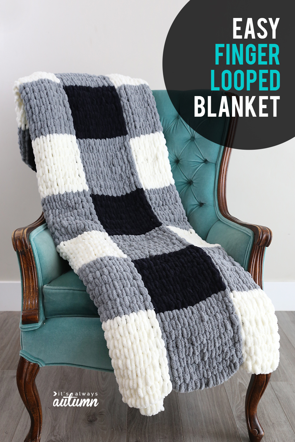 Make A Gorgeous Finger Knit Blanket With Loop Yarn This Is So Easy It S Always Autumn