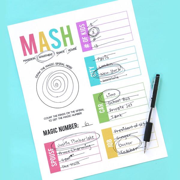 MASH game printable worksheet