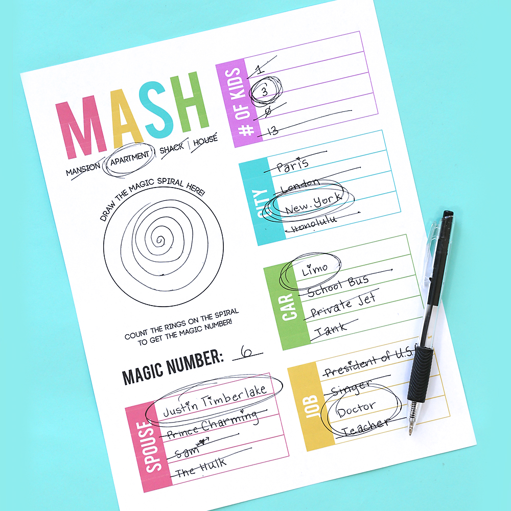 Remember the MASH game? Fun game where kids get to predict their future. How to play MASH.