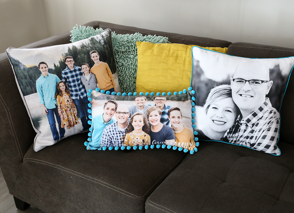 Pillows with family photos on them