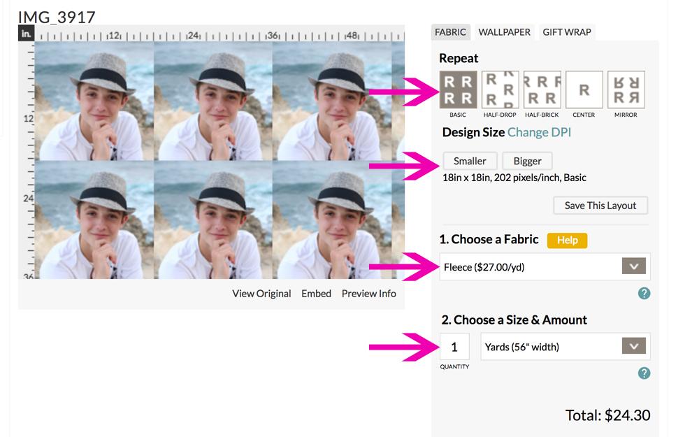 Choosing photo design in Spoonflower software