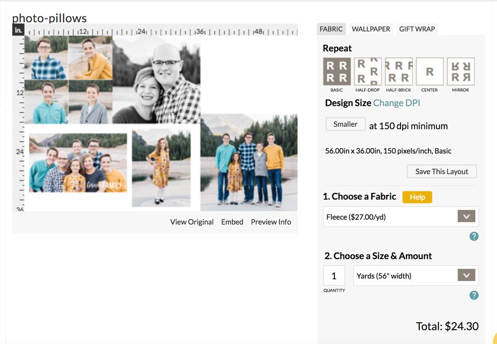 Choosing design in Spoonflower software