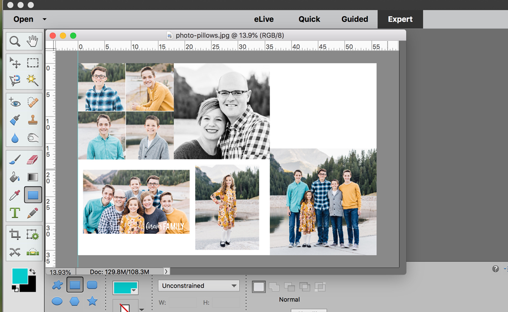 Making photo collage in Photoshop Elements