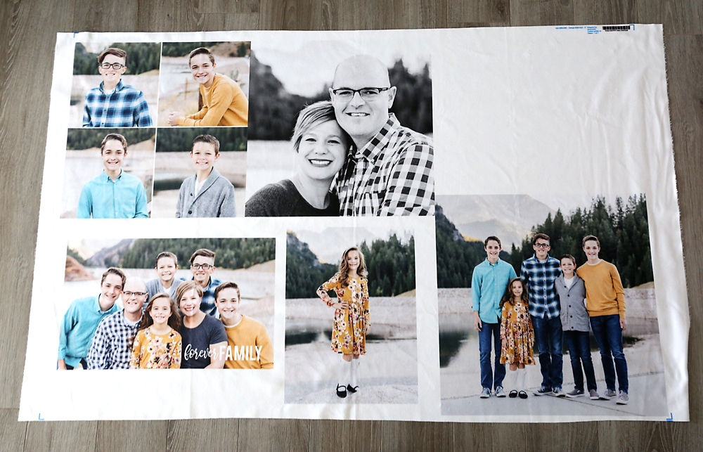 Fabric with family photos printed on it
