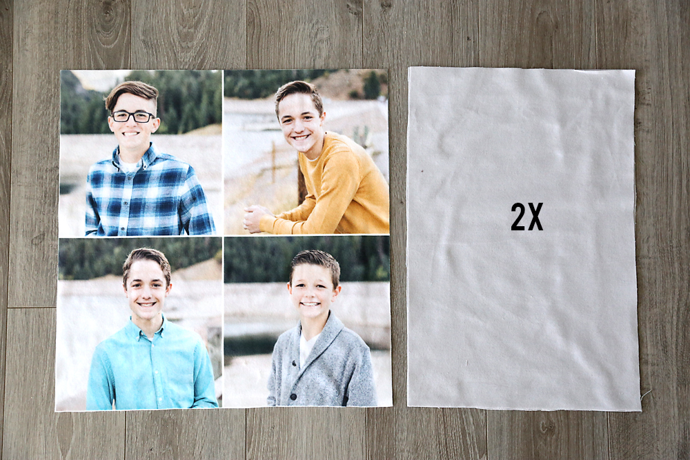 Fabric with family photos on it, backing fabric