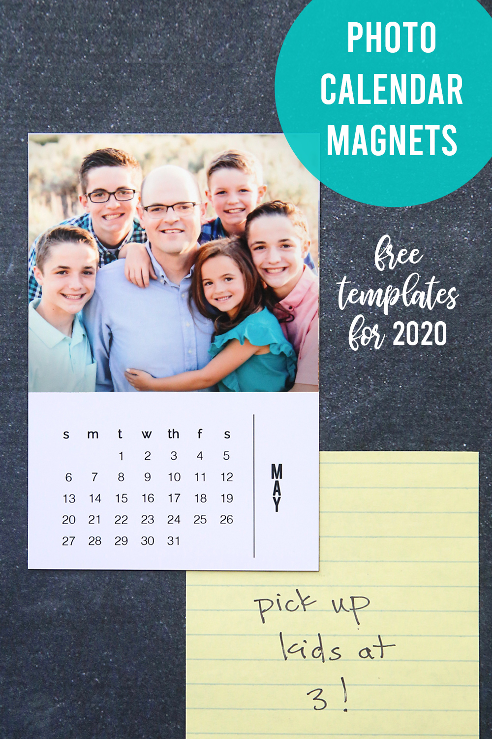 DIY 2020 photo calendar magnets with easy to use templates