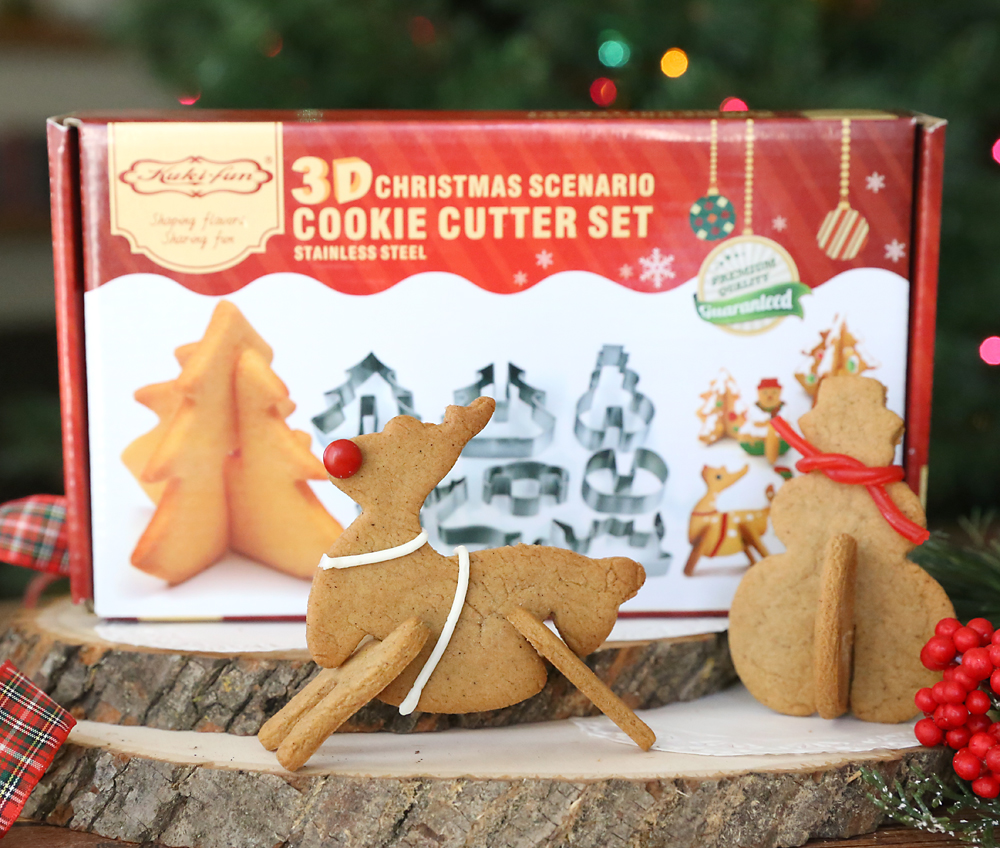 3D gingerbread Christmas cookies and 3D cookie cutter set