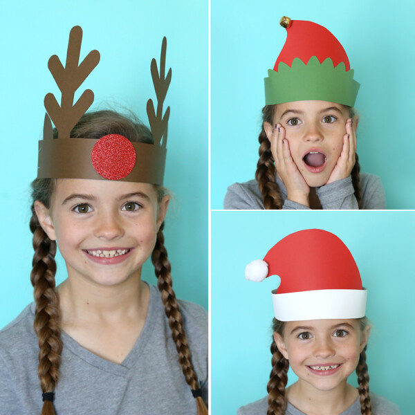 Girl wearing a Christmas headbands made from paper: reindeer, elf, and Santa