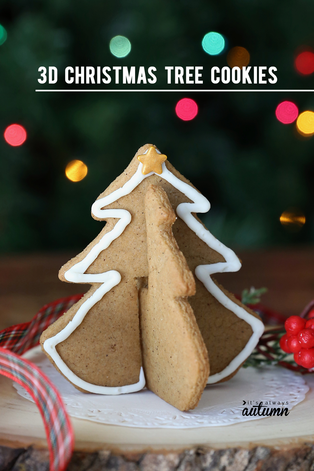 3D Christmas tree gingerbread cookie