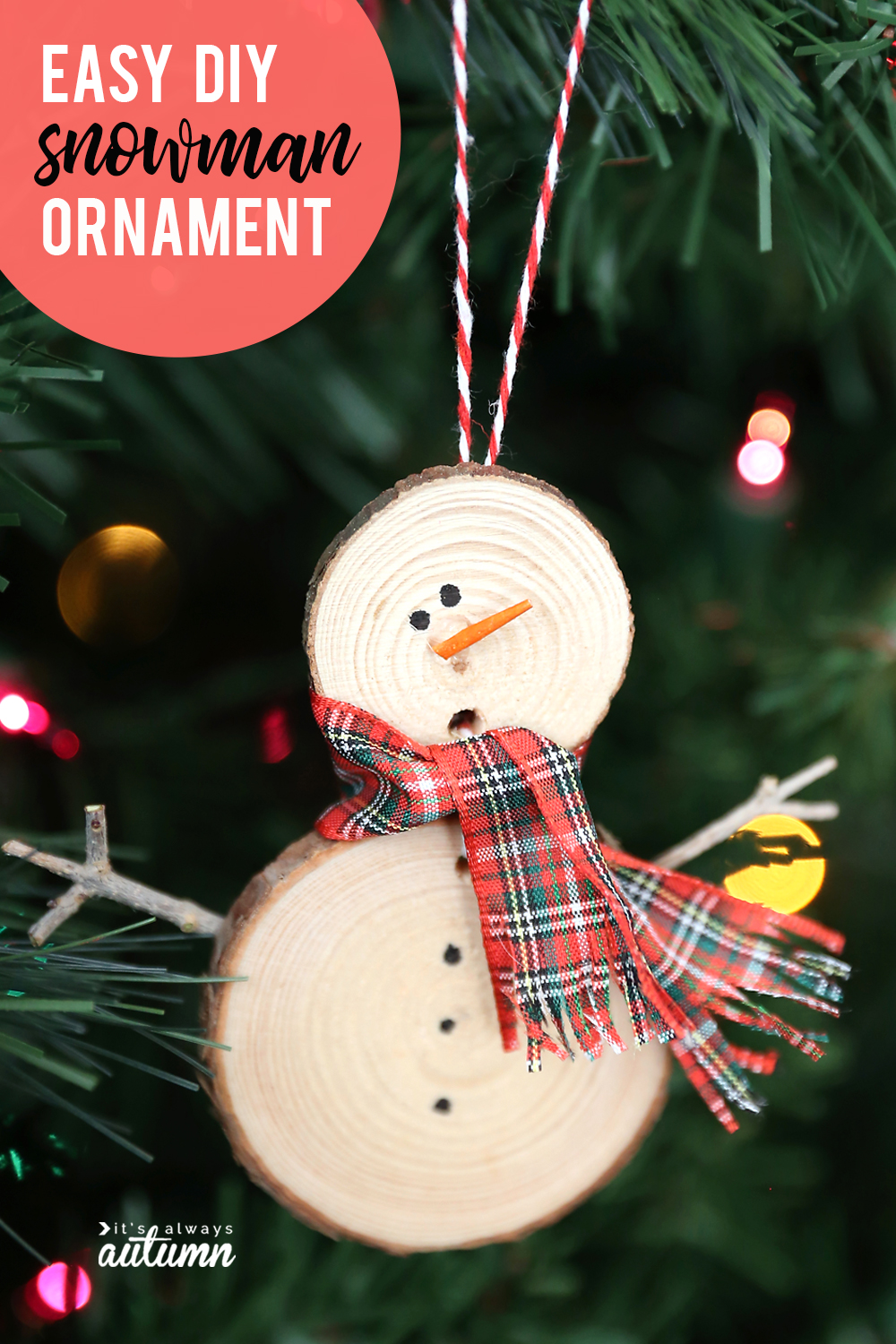 Snowman Christmas ornament made from small wood slices