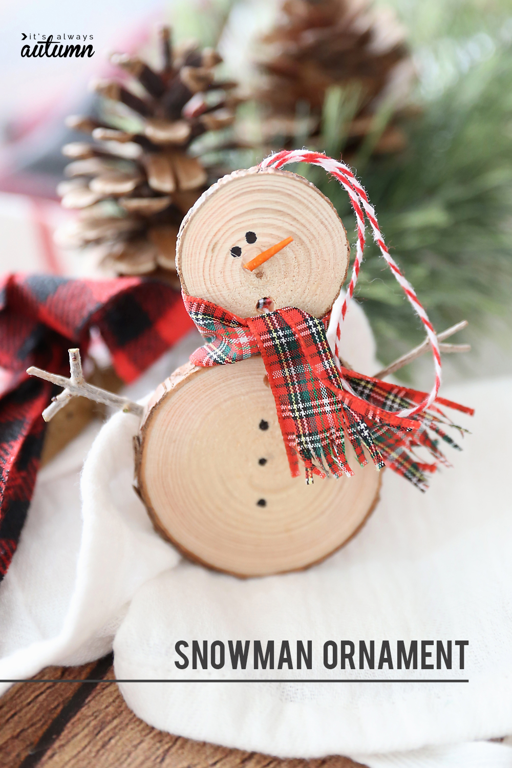 DIY wood slice snowman Christmas ornament