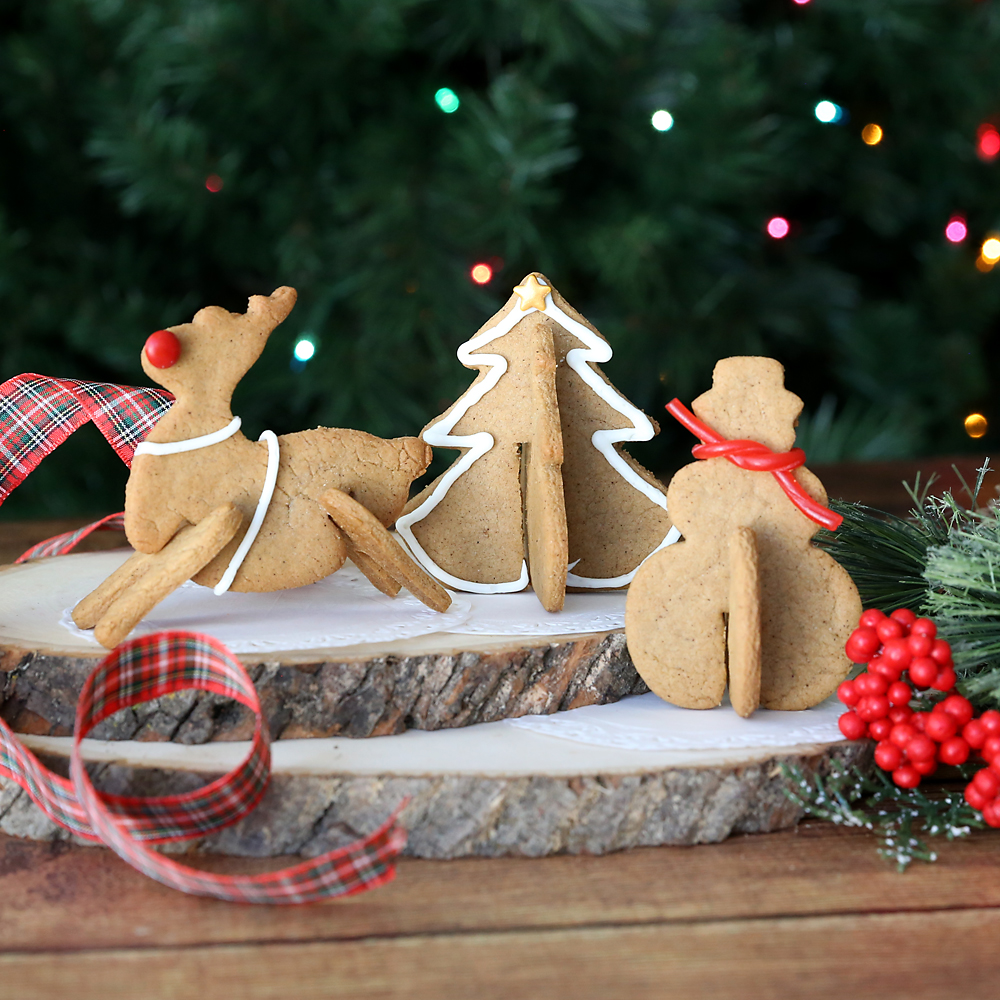 3D Christmas cookies made from gingerbead