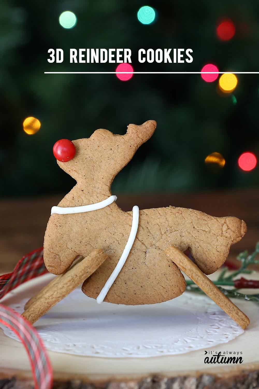 3D reindeer gingerbread cookie