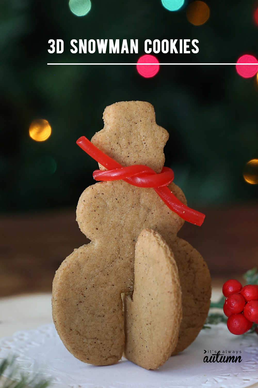 3D snowman gingerbread cookie