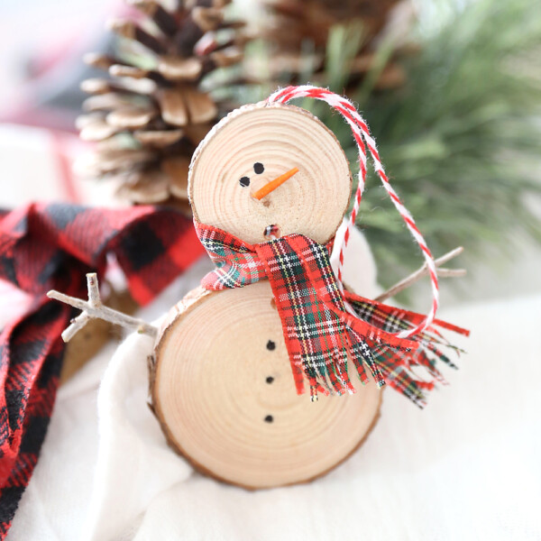 Finished wood slice snowman Christmas ornament