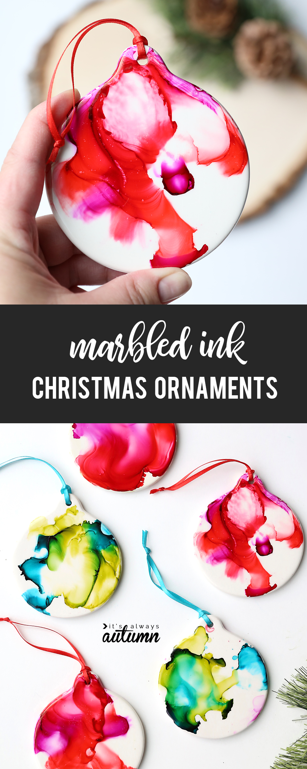 Marbled ink Christmas ornaments