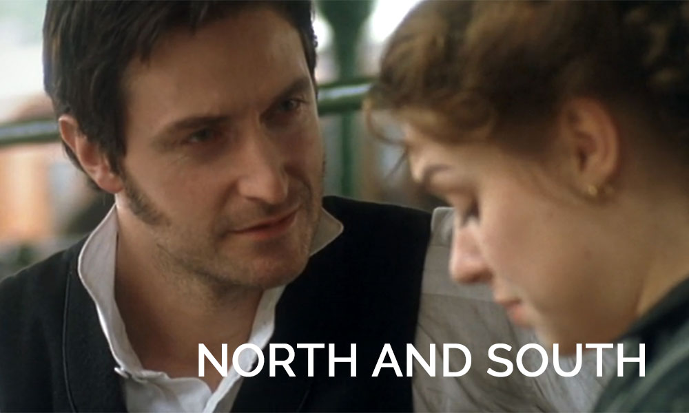 Richard Armitage looking at a woman in the movie North and South