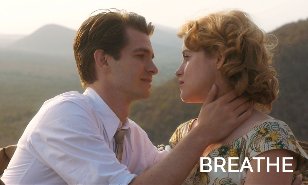 A man and a woman looking at the camera in the movie Breathe