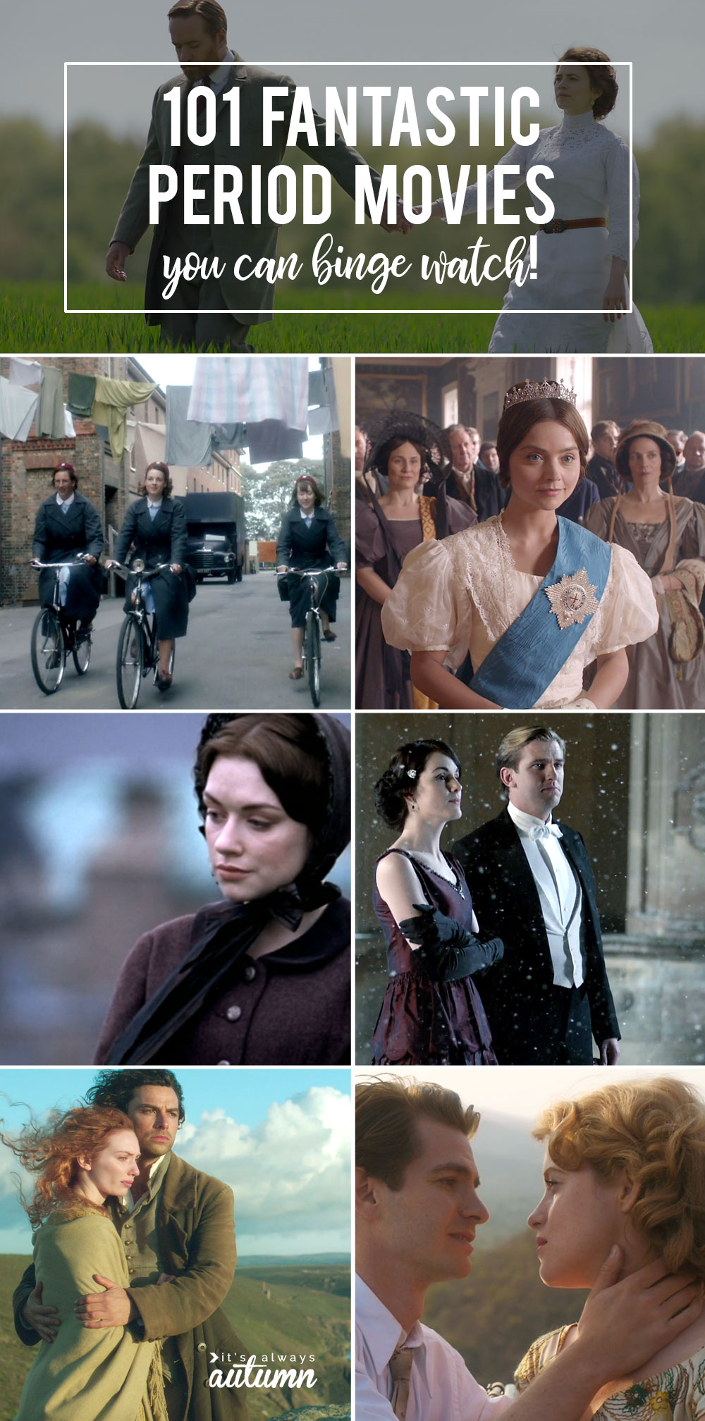 Collage of screenshots from favorite period movies