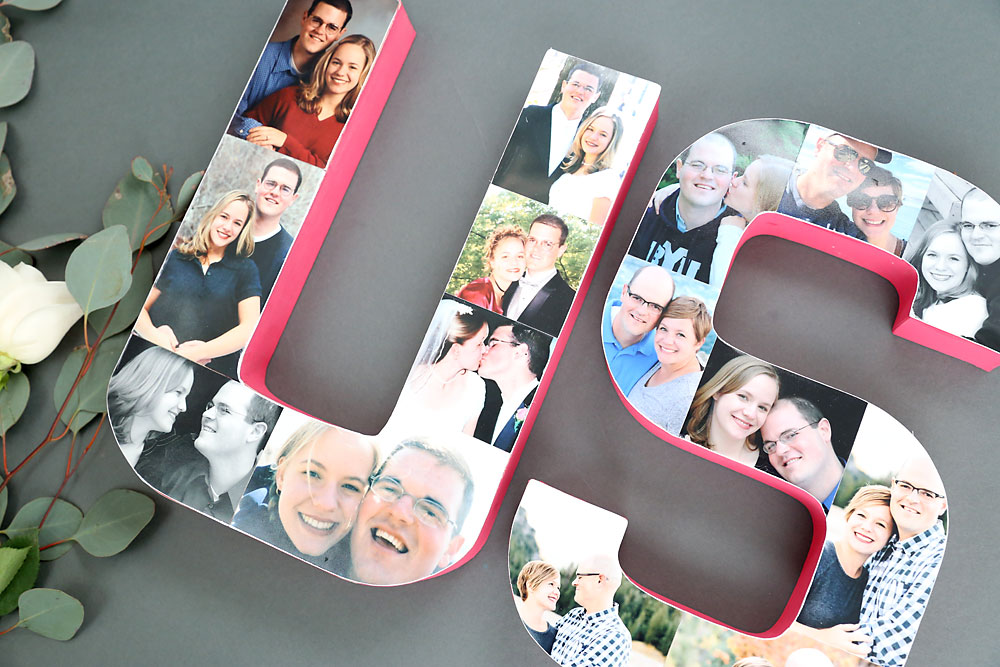 Paper mache letters covered in photos