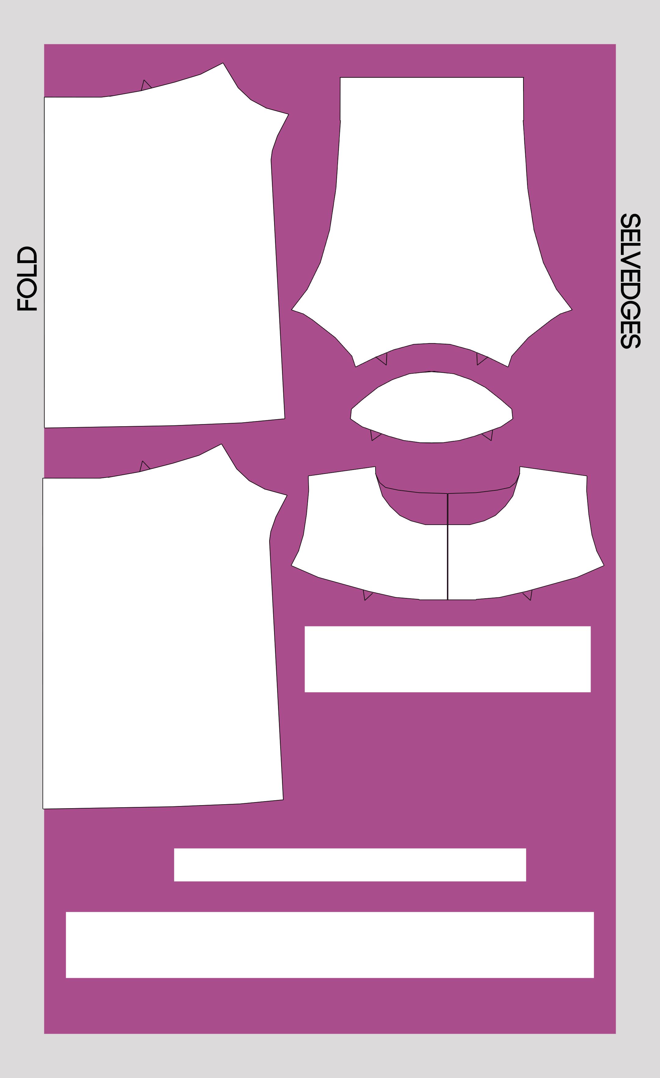 Pattern piece cutting diagram