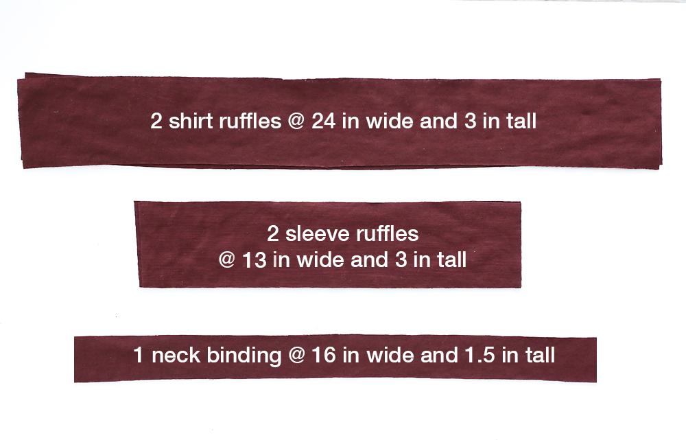 Ruffle tee ruffle pieces and neckbinding