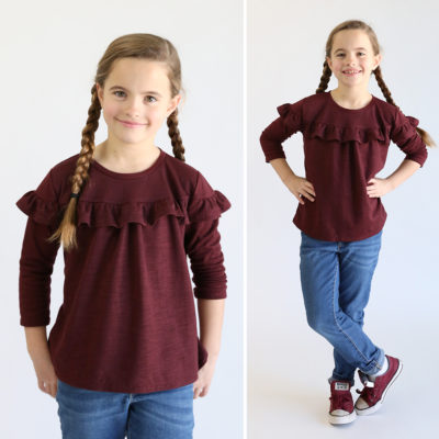 Girls' ruffle top free sewing pattern