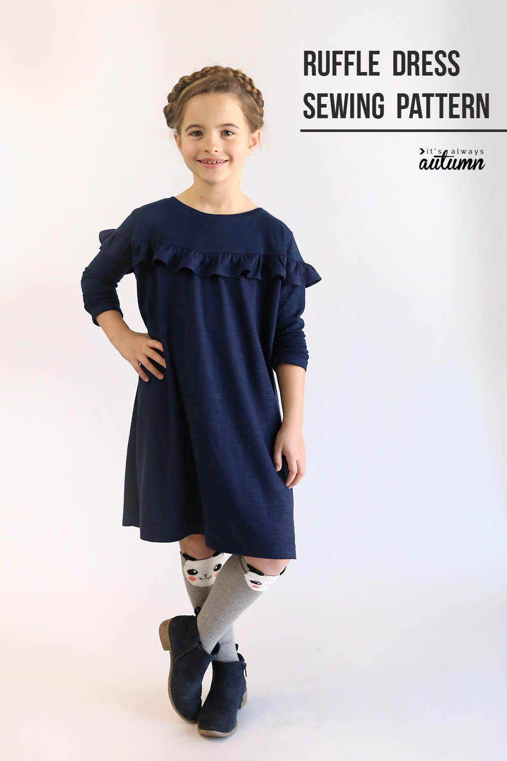Get the free sewing pattern for this girls ruffle dress in size 7/8.