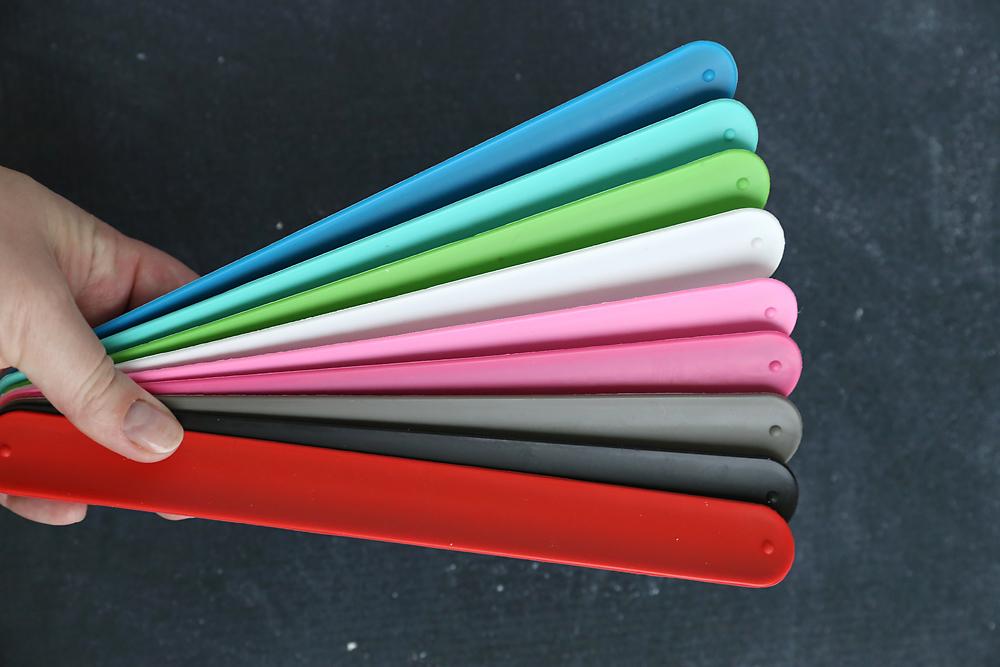 Colorful slap bracelets