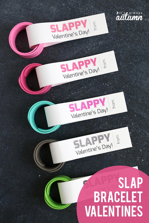 Slap bracelets with Valentine\'s Day tags