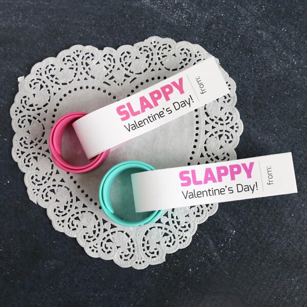 Slap bracelets with Valentine's Day tags