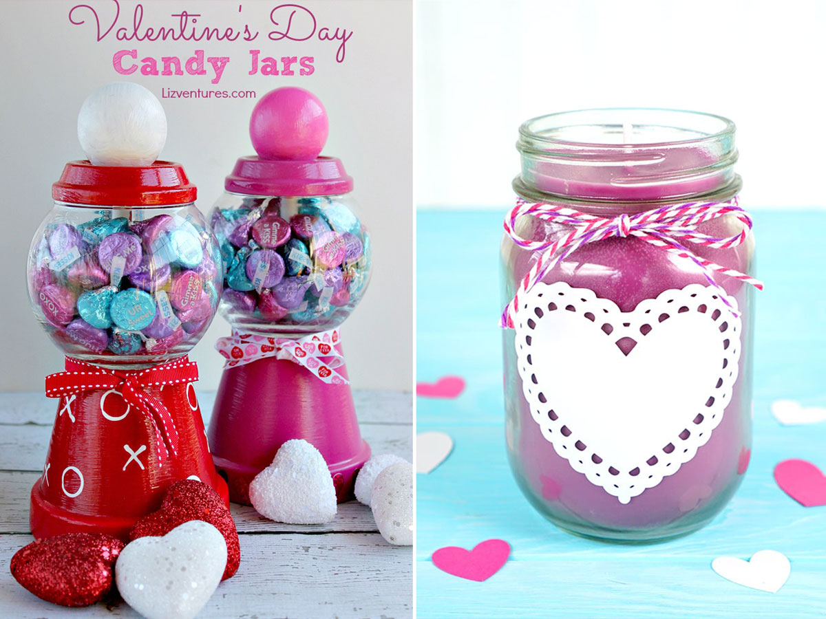 Collage: DIY Valentine\'s Day candy jars; pink candle made in a mason jar with a heart doily