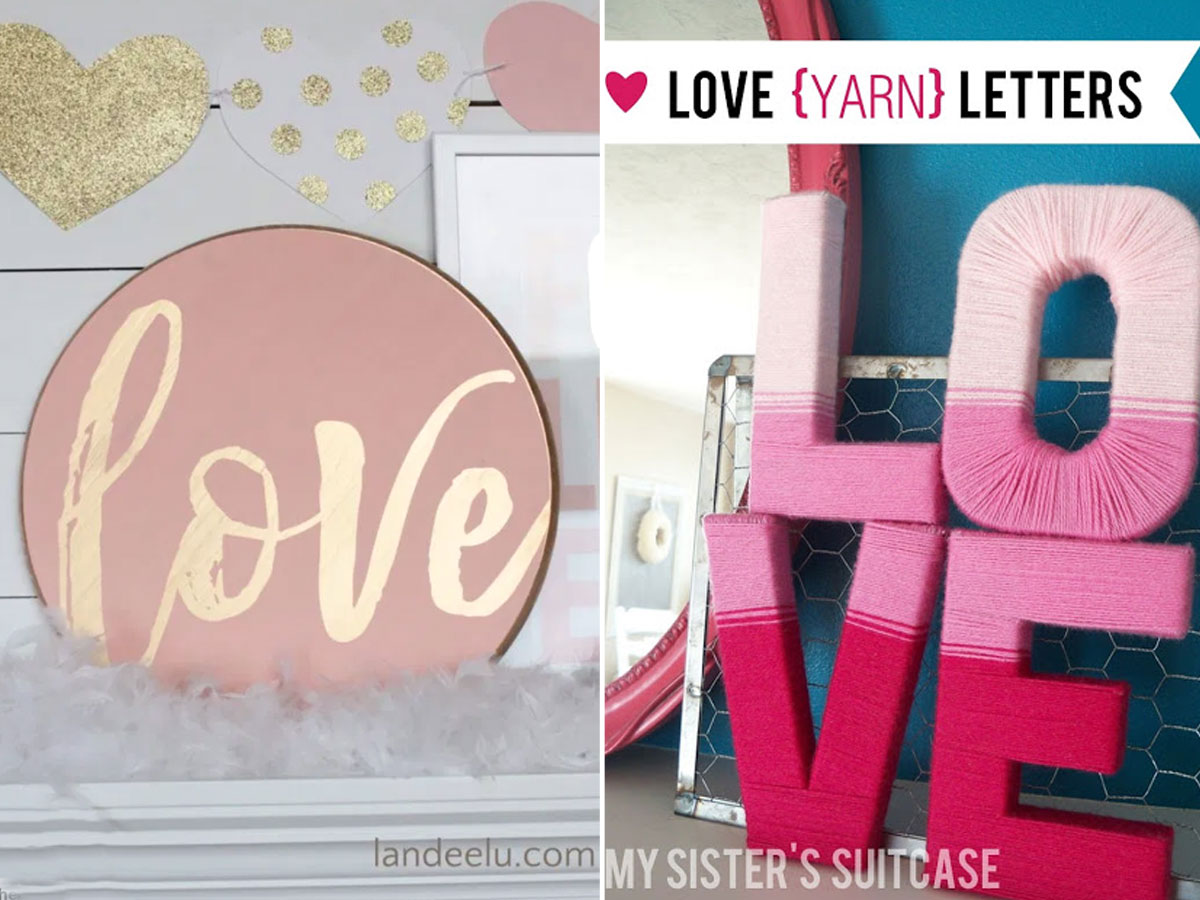 Love sign and DIY yarn wrapped Valentines day letters