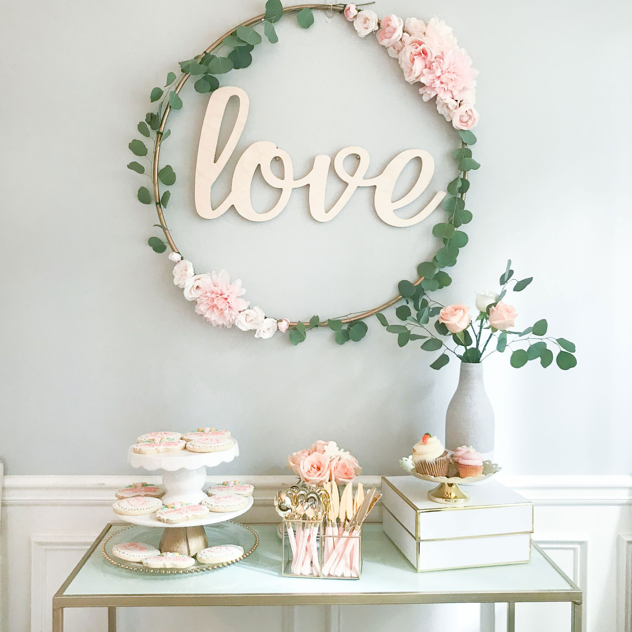 """Large hula hoop wreath with """"love"""" letters"""