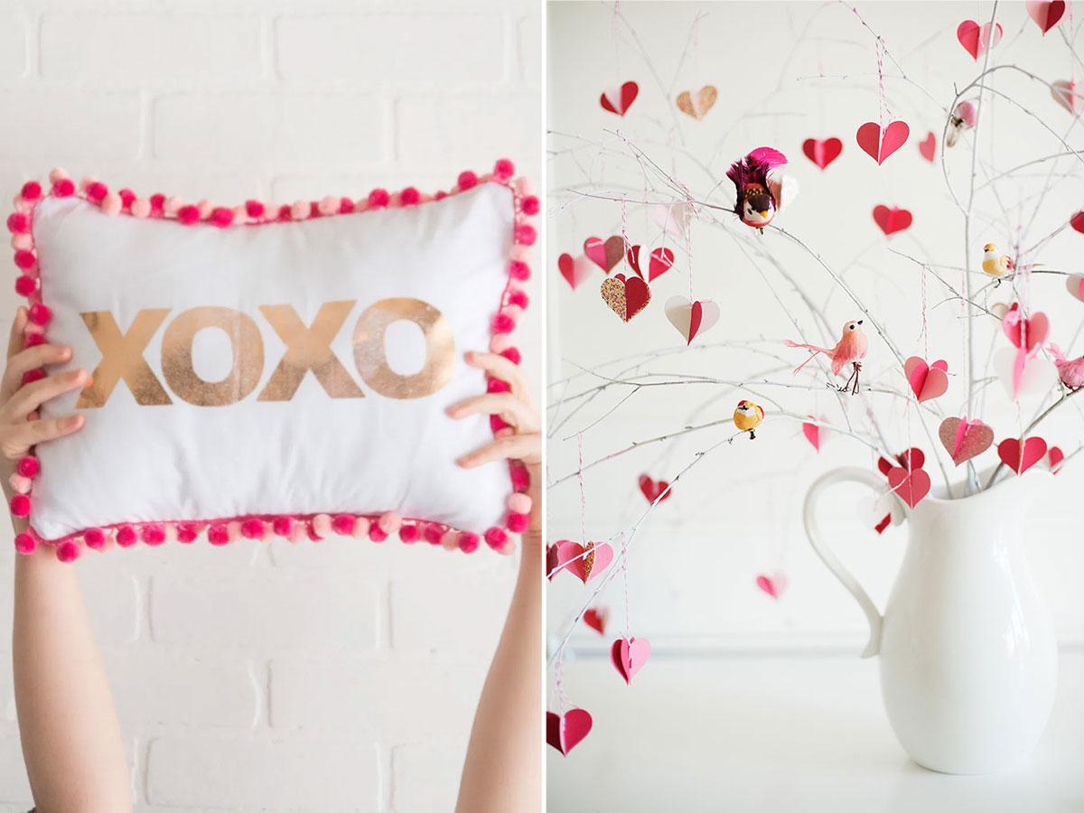XOXO pom pom pillow and Valentines Day branch tree