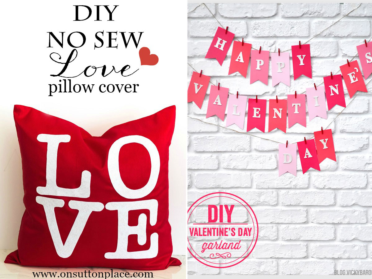 Valentine's day garland and no sew LOVE pillow